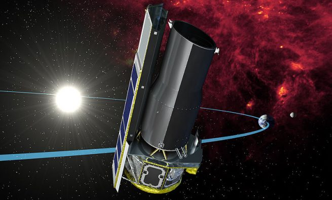 An artist's concept of the Spitzer space telescope. Image Credit: NASA/JPL-Caltech