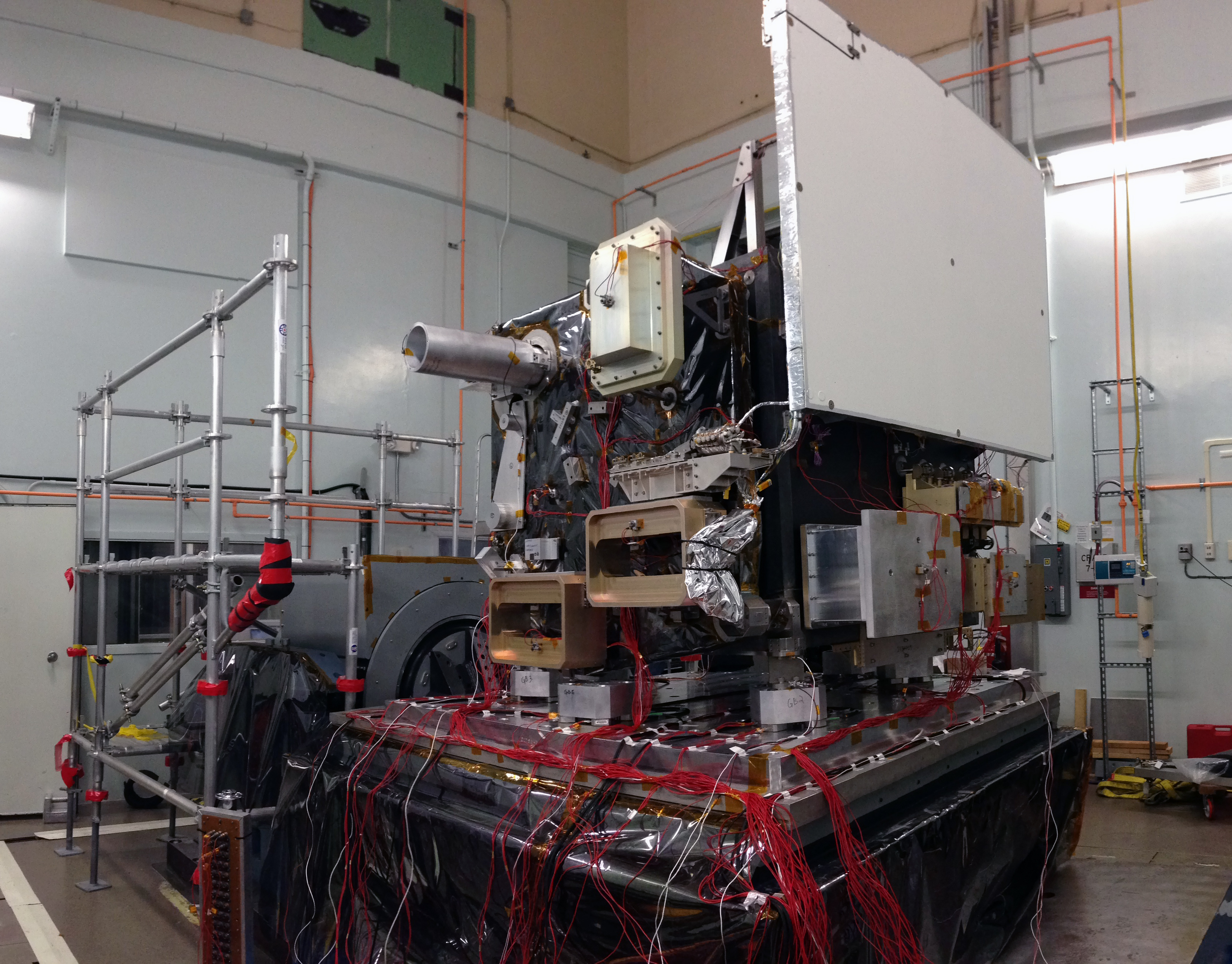 The ATLAS box structure, in preparation for its vibration tests, which will ensure the box can withstand the jolts of launch. To test the box structure, the team attached mass simulators to stand in for components that will be delivered later, including the star tracker and lasers. Image Credit:  NASA's Goddard Space Flight Center/Kate Ramsayer