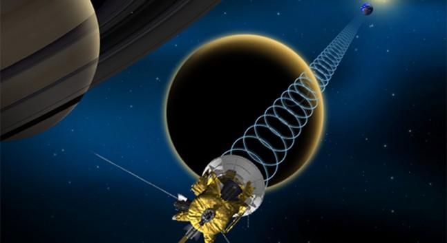 Artwork depicting Cassini's reflection of radio signals off Titan toward Earth. Image Credit: NASA/JPL