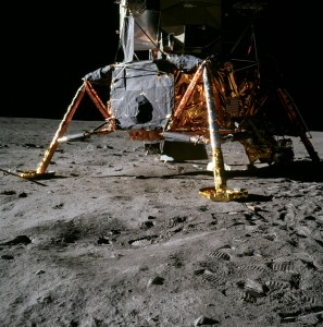 The lunar module Eagle landed on the Moon's Sea of Tranquillity on July 20, 1969, where Neil Armstrong and Buzz Aldrin collected the first uncontaminated material from another world. Photo Credit: NASA