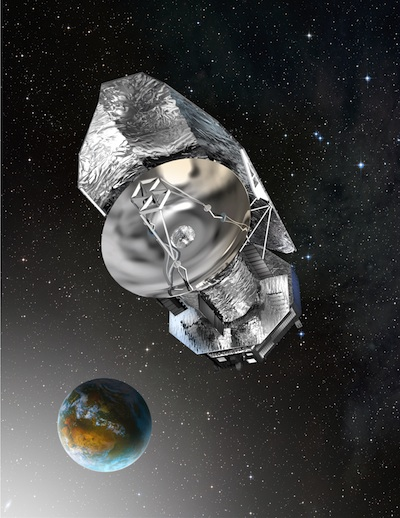 Artist's concept of Herschel at the L2 libration point one million miles from Earth. Image Credit: ESA