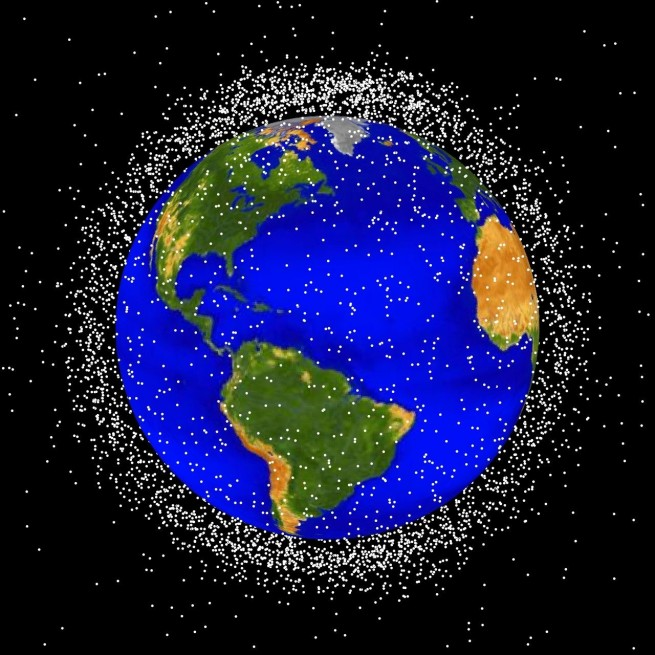 Trackable LEO space debris is depicted in an artist rendering. Source: NASA