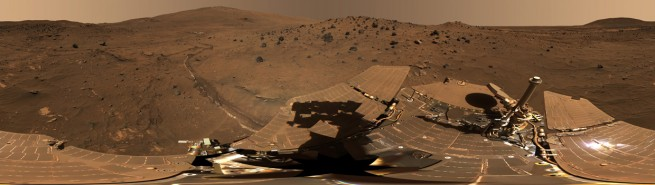 Spirit completed its three-month prime mission on Mars in April 2004, then continued operating in bonus extended missions into March 2010, when it ceased communicating. Photo Credit: NASA/JPL-Caltech/Cornell Univ./Arizona State Univ.