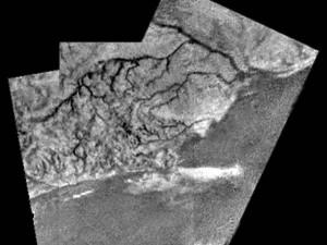 A coastline on Titan as imaged by the Huygens lander in 2005. Image Credit: ESA