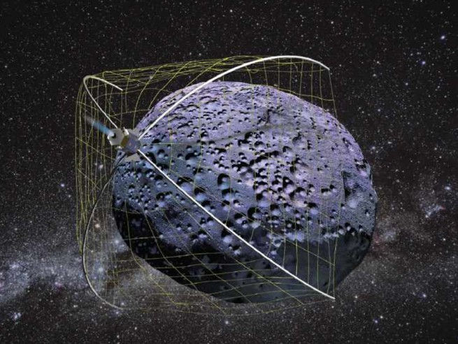 Artist's conception of the Weightless Rendezvous And Net Grapple to Limit Excess Rotation (WRANGLER) system. Image Credit: Tethers Unlimited
