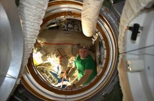 Cosmonaut Oleg Artemyev prepares for his very first spacewalk. Photo Credit: ESA