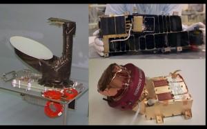 Close-up of NASA's three instruments aboard Rosetta - MIRO (left), Alice (top) and IES (bottom). Photo Credit: NASA/JPL-CalTech