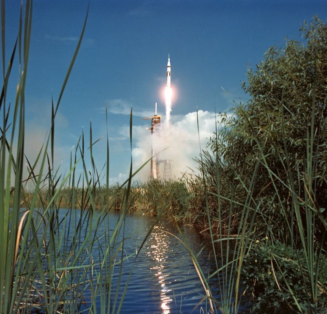 The Apollo component of ASTP ascends through the Florida sky on July 15, 1975. Photo Credit: NASA