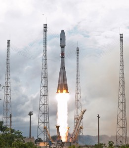 Four O3b satellites successfully launch atop a Russian Soyuz ST-B. Photo Credit: Arianespace
