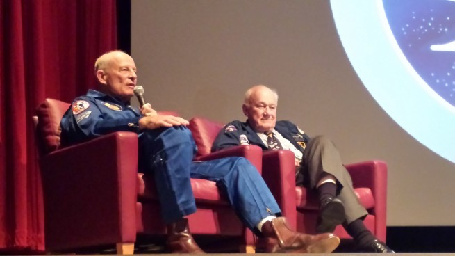 Jack Lousma and Bruce McCandless give their account of the Apollo 11 mission. Photo Credit: Spaceflight Insider