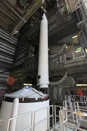 One of ATK's GEM-60 solid rocket motors is positioned to be mated to a Delta IV CBC. Photo Credit: ULA