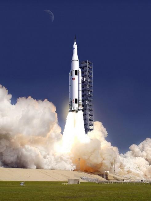 Artist concept of SLS launching. Image Credit: NASA