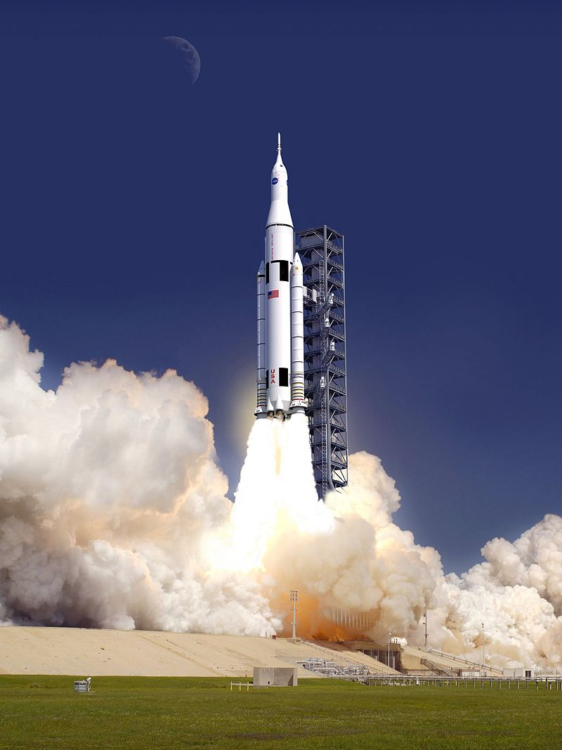 Artist concept of SLS launching. Image Credit: NASA