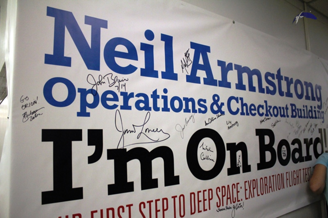 A banner gracing the interior of the structure denoting its new name. Photo Credit: Jason Rhian / SpaceFlight Insider