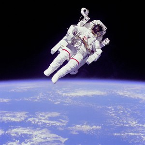 NASA astronaut Bruce McCandless is photographed by fellow astronaut Hoot Gibson during his famous MMU EVA. Photo Credit: NASA