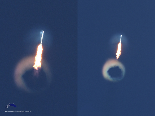 SpaceX's Falcon 9 v1.1's contrail blows a ring on its way out of Earth's atmosphere. Photo Credit: Mike Howard / SpaceFlight Insider