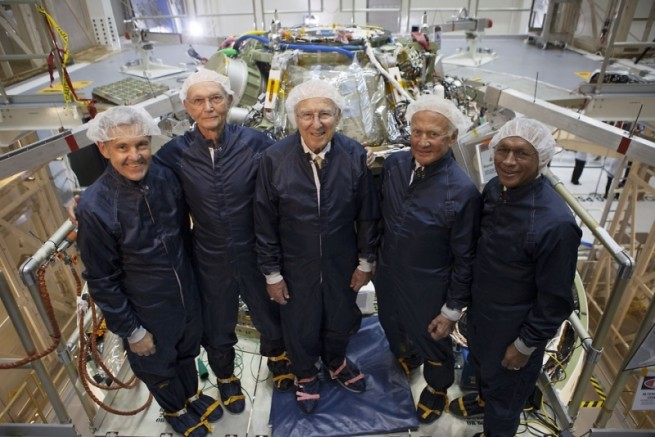 The assembled astronauts took a tour of the Orion capsule which is being assembled at the newly-christened Neil Armstrong Operations & Checkout Building. Photo Credit: Jason Rhian / SpaceFlight Insider