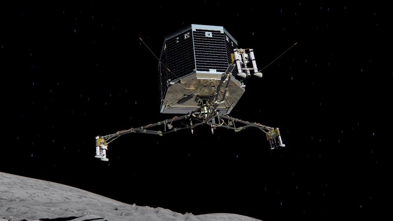 The Philae Lander is set to land on comet ESA's Philae lander on descent to comet 67P/Churyumov-Gerasimenko. Image Credit: ESA