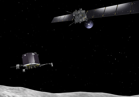 Artist's conception of Rosetta and Philae at comet 67P/Churyumov–Gerasimenko. Image Credit: ESA