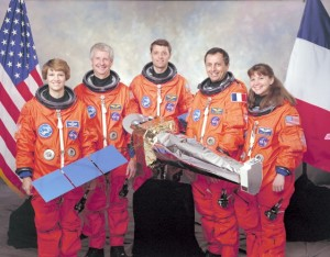L-R: Eileen M. Collins, Steven A. Hawley, Jeffrey S. Ashby, Michel Tognini and Catherine G. Coleman. Photo Credit: NASA