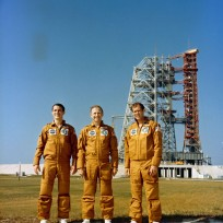 The Skylab IV crew standing near Pad B, Launch Complex 39, Kennedy Space Center, (L-R): Scientist-astronaut Ed Gibson, science pilot; astronaut Gerald Carr, commander; and astronaut William Pogue, pilot. Photo credit: NASA