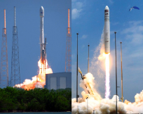 This past week Orbital Sciences Corporation's Antares and SpaceX's Falcon 9 rocket took to the skies. Photo Credit: Carleton Bailie (left) Elliot Severn (right) / SpaceFlight Insider