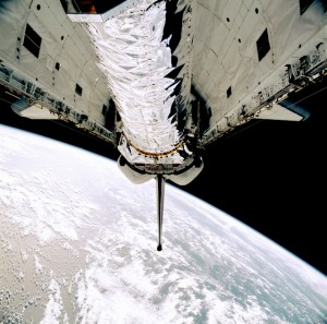 The observatory just before it was tilted upward for its release from Columbia's payload bay. Photo Credit: NASA