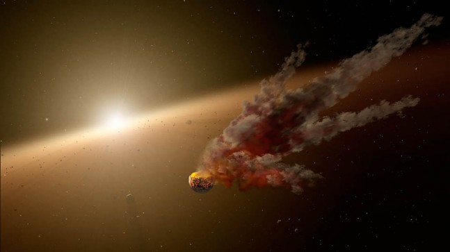 This artist's concept shows the immediate aftermath of a large asteroid impact around NGC 2547-ID8, a 35-million-year-old sun-like star. NASA's Spitzer Space Telescope witnessed a giant surge in dust around the star, likely the result of two asteroids colliding. Image Credit: NASA/JPL-Caltech