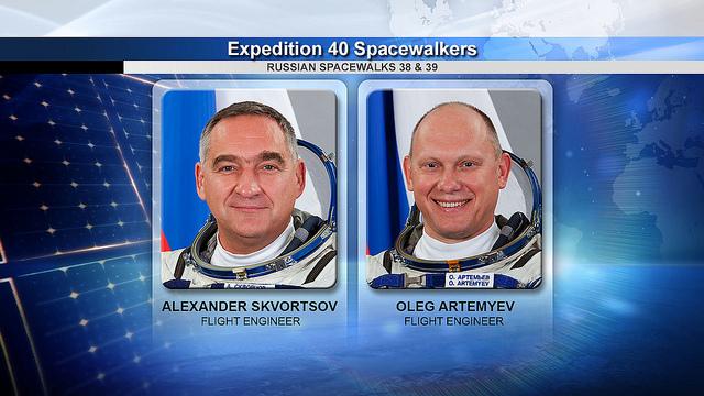 Flight Engineers Alexander Skvortsov and Oleg Artemyev, whom conducted he spacewalk. Photo Credit: NASA TV