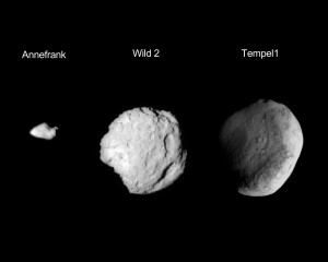 Three bodies the Stardust spacecraft came in contact with, while exploring our solar system. Image Credit: NASA