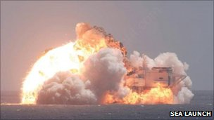 In 2007, a Zenit-3SL rocket exploded aboard Sea Launch's floating launch platform. Photo Credit: Sea Launch