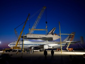 Enterprise is seen mated on top of the NASA 747 Shuttle Carrier Aircraft  at Washington Dulles International Airport. Photo Credit: NASA/Bill Ingalls