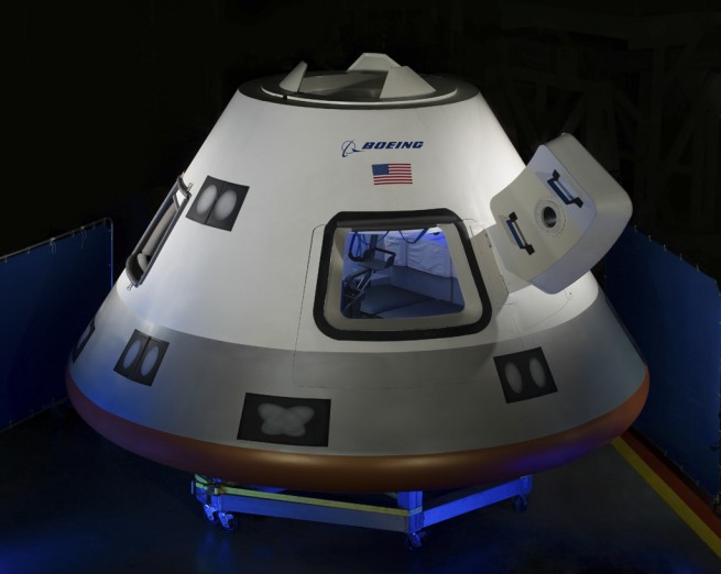 A mock-up of Boeing's CST-100 capsule. Image Credit: Boeing