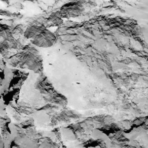 Close-up of site A. This area is an interesting target, but further data is needed on slopes and depressions. Image was captured on August 16 by OSIRIS. Image Credit: ESA