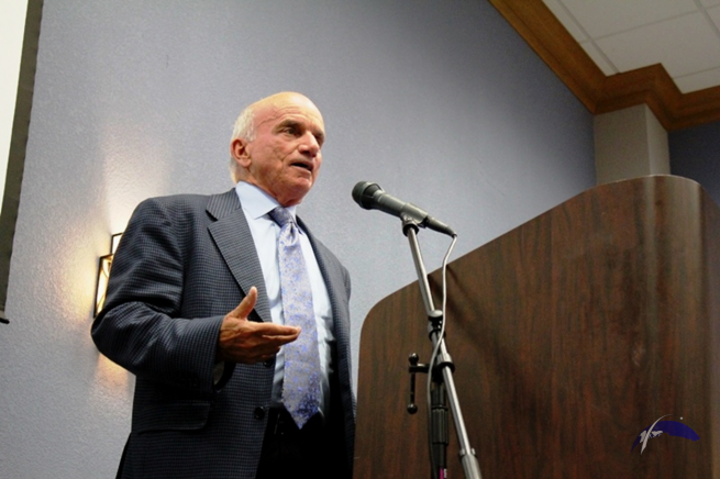 Dennis Tito addressed the assembled guests at a Aug. 9 banquet held at the South Shore Harbor Resort. Photo Credit: Jason Rhian / SpaceFlight Insider