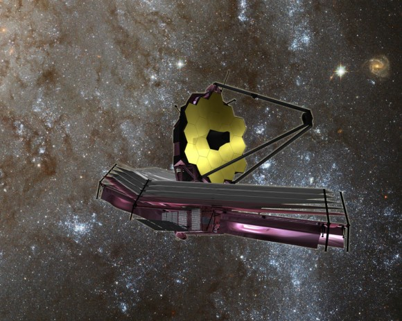 Artist's concept of JWST after deployment . Image Credit: NASA/ESA