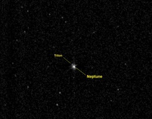 Neptune and its moon Triton, as seen by the New Horizons spacecraft. Image Credit: NASA