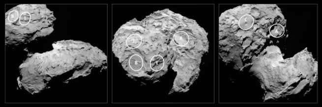 The five potential landing sites are spread over the comet's two lobes and a primary site will be selected in the upcoming weeks. Image Credit: ESA