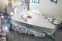 First deployment of the sunshield test unit for James Webb Space Telescope. Photo Credit: NASA