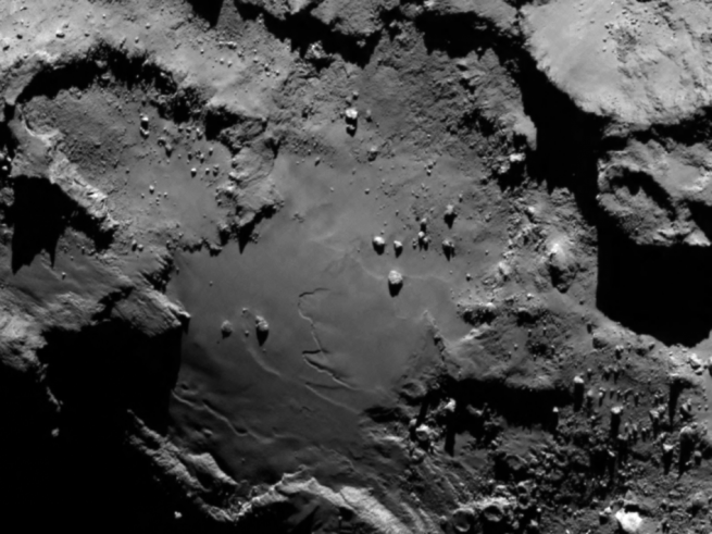 Close-up view of Comet 67P's body section as seen from Rosetta on August 6. Image Credit: ESA