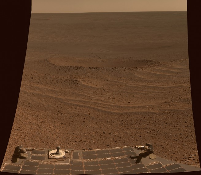 Opportunity's view of the Lunokhod 2 crater. Image Credit: NASA/JPL-Caltech
