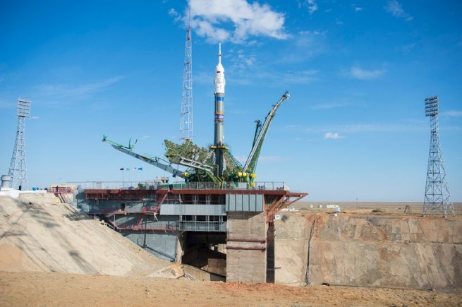 The Soyuz-FG carrier rocket and Soyuz TMA-14M spacecraft have been delivered and installed at the launch site in Kazakhstan. Photo Credit: Aubrey Gemignani  / NASA