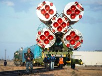 The Soyuz TMA-14M spacecraft is rolled out to the launch pad by train on Tuesday, Sept. 23, 2014 at the Baikonur Cosmodrome in Kazakhstan.  Launch of the Soyuz rocket is scheduled for Sept. 26 and will carry Expedition 41 Soyuz Commander Alexander Samokutyaev of the Russian Federal Space Agency (Roscosmos), Flight Engineer Barry Wilmore of NASA, and Flight Engineer Elena Serova of Roscosmos into orbit to begin their five and a half month mission on the International Space Station. Photo Credit: Aubrey Gemignani / NASA