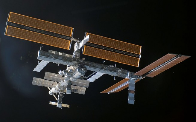 View of the International Space Station just after Atlantis undocked. New solar array is shown on the right. Photo Credit: NASA