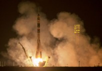 The Soyuz TMA-14M launch vehicle with the Expedition 41 crew including: Soyuz Commander Alexander Samokutyaev and Flight Engineers Elena Serova (Roscosmos), and Barry Wilmore (NASA), lifts off from the Baikonur Cosmodrone on Friday, September 26, 2014. Photo Credit: Joel Kowsky NASA