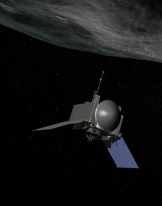 This is an artist's concept of NASA's OSIRIS-REx spacecraft preparing to take a sample from asteroid Bennu. Image Credit: NASA/Goddard
