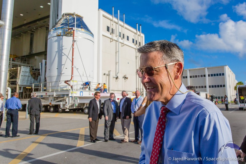 Kennedy Space Center Director and former NASA astronaut Robert Cabana smiles as Orion makes its appearance. Photo Credit: Jared Haworth / SpaceFlight Insider