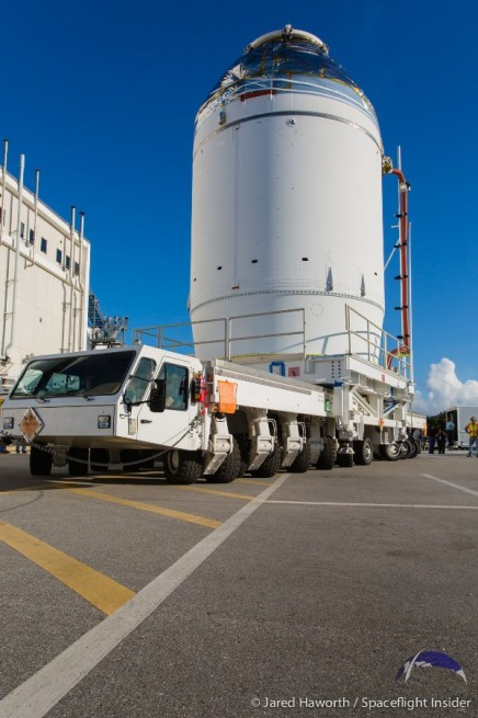 Orion carried out today's big move atop a specially modified transport. Photo Credit: Jared Haworth / SpaceFlight Insider