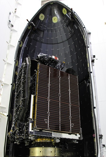 AsiaSat 6 being loaded into the payload compartment of the Falcon 9 nosecone. Photo Credit: AsiaSat
