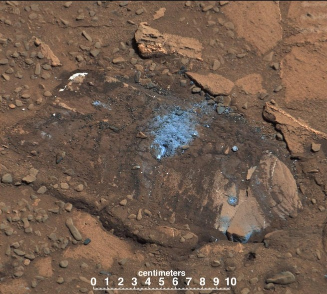 The Bonanza King rock outcrop, which proved to be too unstable to complete drilling. It did, however, show an unusually high content of silicon, another potential clue to the region's much wetter past. Image Credit: NASA/JPL-Caltech